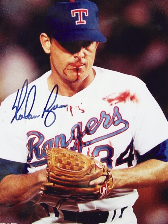 Nolan Ryan reprint 8 x10 Photo Texas Rangers - Bloody Lip