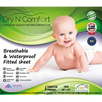 Baby Crib Mattress Protector Pad Cover - Dry N Comfort - European Premium Quality Super Soft Hypoallergenic Waterproof White Fitted Sheet - Vinyl Free - 5 Years Warranty - Money Back Guarantee!