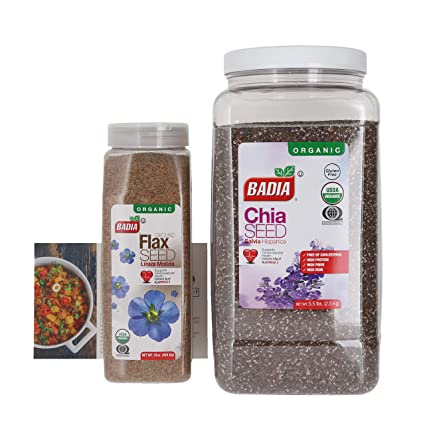 Badia Organic Ground Flax Seed and No Gluten Badia Organic Chia Seed Bundle (Set of 2) with Premium Penguin Recipe Card | 16 ounces of Ground Flax ...