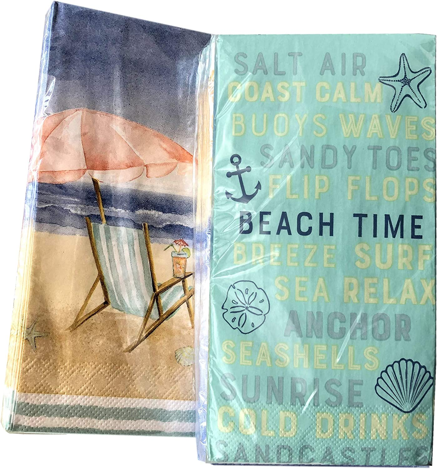2x20-ct Beach Summer Napkins Luncheon Dinner Buffet Guest Hand Towels for Bathroom Cocktail Napkins Disposable Decorative Paper Napkins for Decoupage Paper Mother's Day Napkins Father's Day Napkins