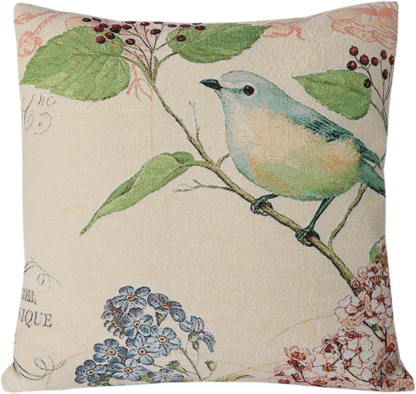 SimpleDecor Jacquard Bird On the Tree Accent Decorative Throw Pillow Case Hand Painted Cushion Cover Cute Traditional Chinese Painting 18X18 by Simple
