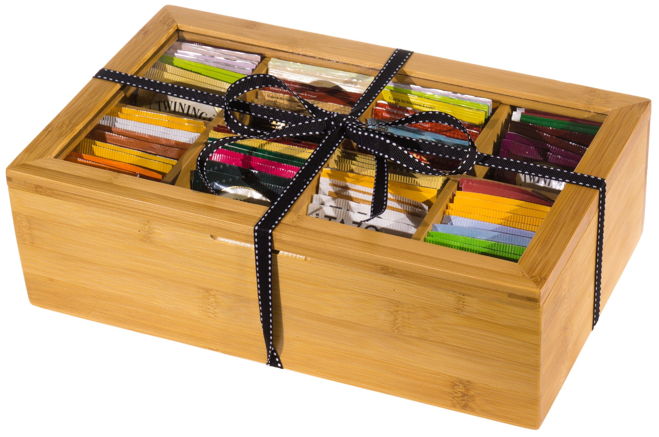 Plenty 4 You Organic Variety Bamboo Tea Chest Set 80 Bag Count with 20 Honey Sticks by Plenty 4 You