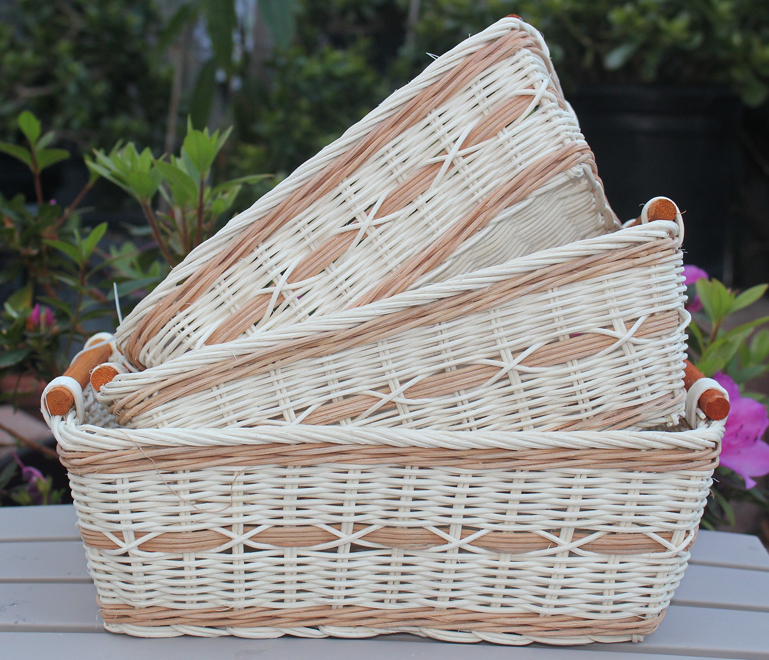 ShopOnNet RT430712-3 Handwoven Retangular Wicker Storage Basket with Handle in Cream and Brown (Set of 3) - Sold as a set of three. Handwoven eco-friendly wicker basket with durable rattan wicker material and each comes with a curve pole handle on each end of the basket. These wicker baskets are also stackable, making storage easy and convenient. Make organizing any room in your home easy with this basket. These Wicker baskets are handcrafted therefore they may vary slightly in sizes. Dimension: * Large size: L11.8 inches x W9.1 x H4.0 inches; - living-room-decor, living-room, baskets-storage - 91ZZNM2ofxL -