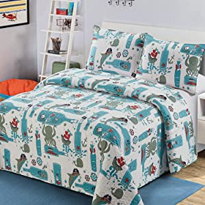 Luxury Home 3 Piece Full/Queen Size Coverlet Bedspread Quilt Set with Pillowcase Kids/Toddlers/Boys Multicolor Fun Sea Life Pirates Octopus Shark Whale Bottle Ships Anchors Treasure Island Blue Green