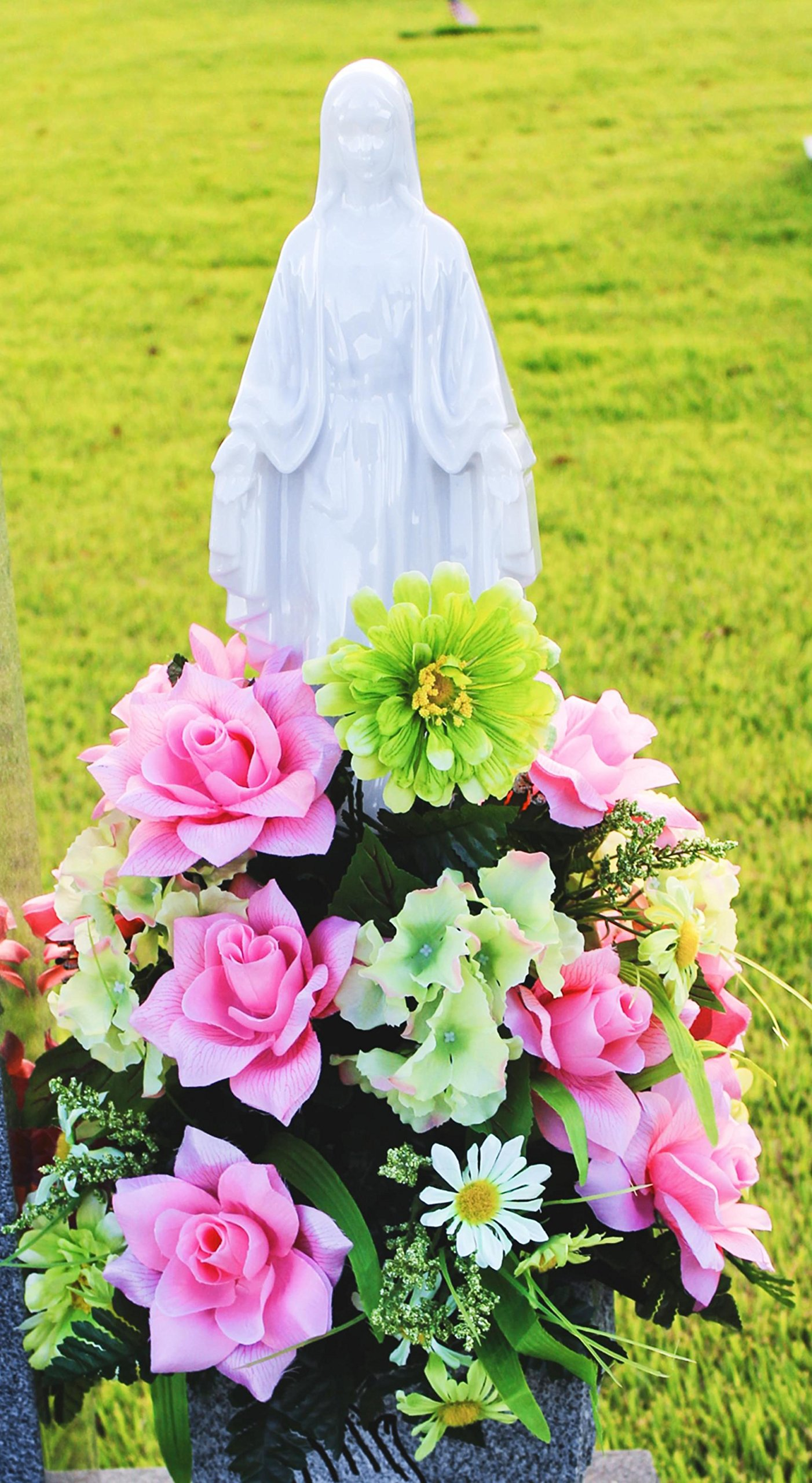 Eternal Light - Solar Lighted Mother Mary - Cemetery Memorial Home Garden Statue Religious