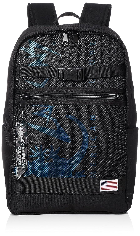 [ラーキンス]ラウンドバックパック LKLA-01 メッシュポケット B07B4R6K3R  ブラック/ブルー