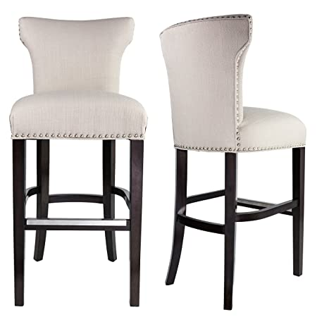 Sole Designs Bella Collection Modern Upholstered Bar Stool Chair With Concave Back and Hand Applied Nail Head Trim, Off White Black