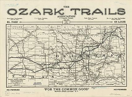 Amazon.com: Historic Map | Oklahoma 1921 | [National ...