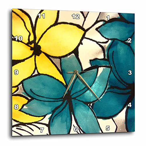 3dRose dpp_32104_1 Teal and Yellow Floral Wall Clock, 10 by 10-Inch