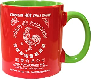 Large 19 oz Sriracha Hot Sauce Red And Green Ceramic Mug
