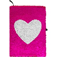 Sparkl Creations Reversible Magic Sequins Notebook: Color-Changing Flip Sequin Writing Journal or Diary with Heart Pattern - Perfect Gift for Girls, Tweens, Teens, and All Fun-Loving Kids