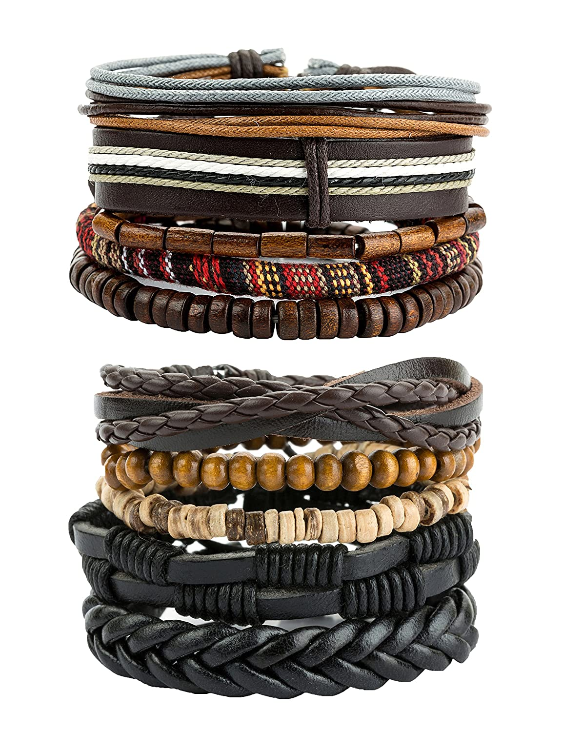REVOLIA 10-15Pcs Mens Womens Leather Bracelets Wooden Beaded Bracelets Braided Cuff MSL09-10