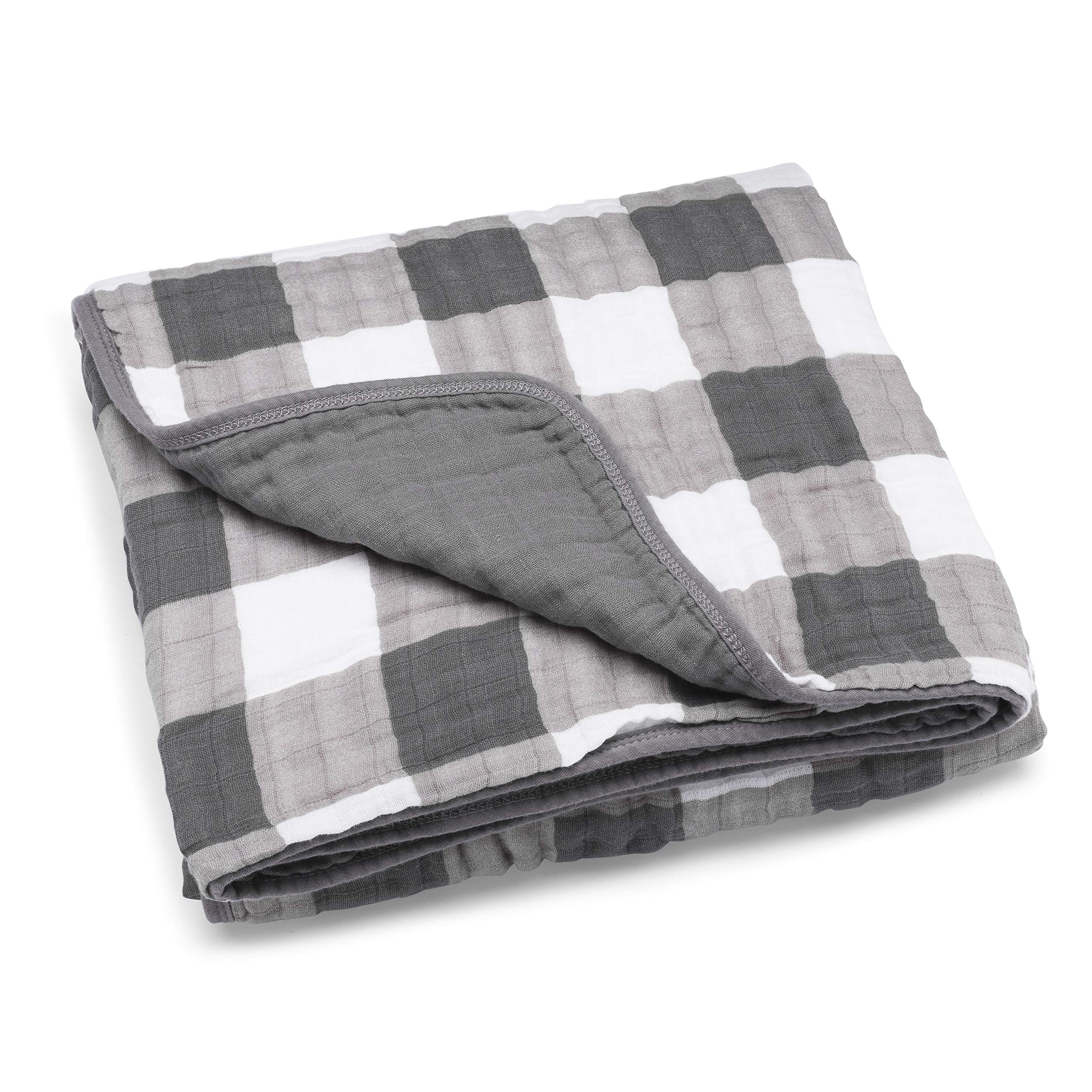 Parker Baby Muslin Blanket - 100% Soft Cotton Baby Quilt and Kids Blanket - Unisex, Gender Neutral -''Gray Buffalo''