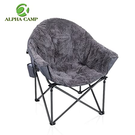ALPHA CAMP Deluxe Plush Dorm Chair Oversized Moon Saucer Chair Supports 350 LBS Portable with Carry Bag