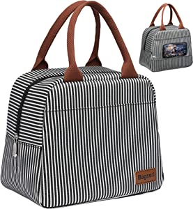Lunch Bag, Bagseri Insulated Lunch Box for Women and Men, with Transparent Phone Holder Pocket, Reusable Lunch Cooler Bags Thermal Organizer, Water-resistant Lining (Black White Stripe)