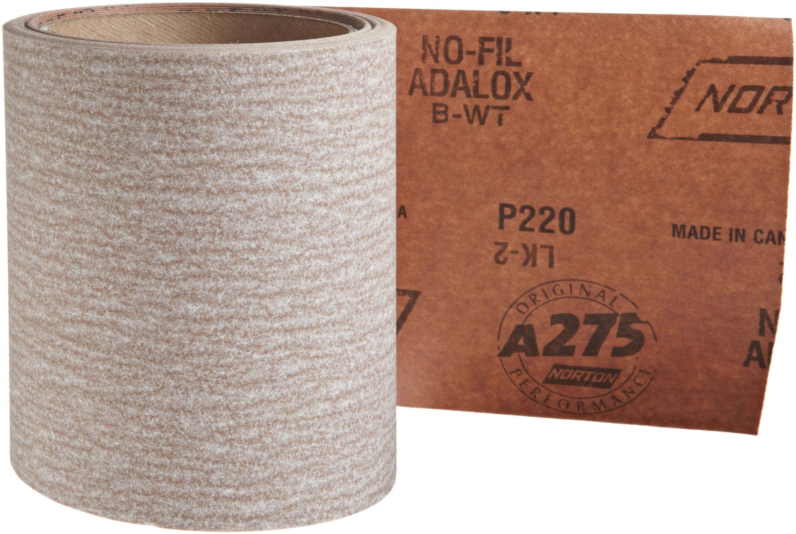 Norton A275 No-Fil Adalox Abrasive Roll, Paper Backing, Pressure Sensitive Adhesive, Aluminum Oxide, Waterproof, Roll 4-1/2'' Width x 10yd Length, Grit 220 (Pack of 1)