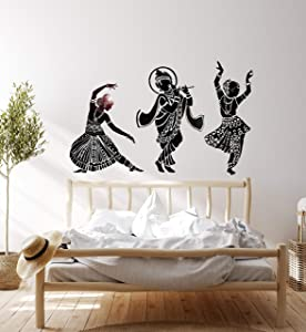 Vinyl Wall Decal Dance Indian Womans Devadasi Indian Dance School Hindu Stickers Large Decor (774ig) Black