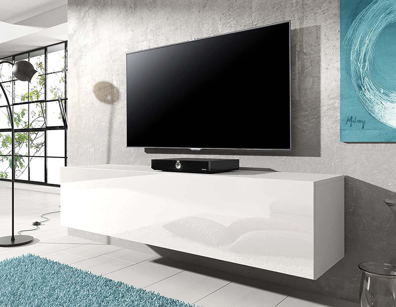 Meuble Tv Suspendu Rocco 140 Cm Blanc Mat Frontal Avec Brillant  # Meuble Tv Brillant