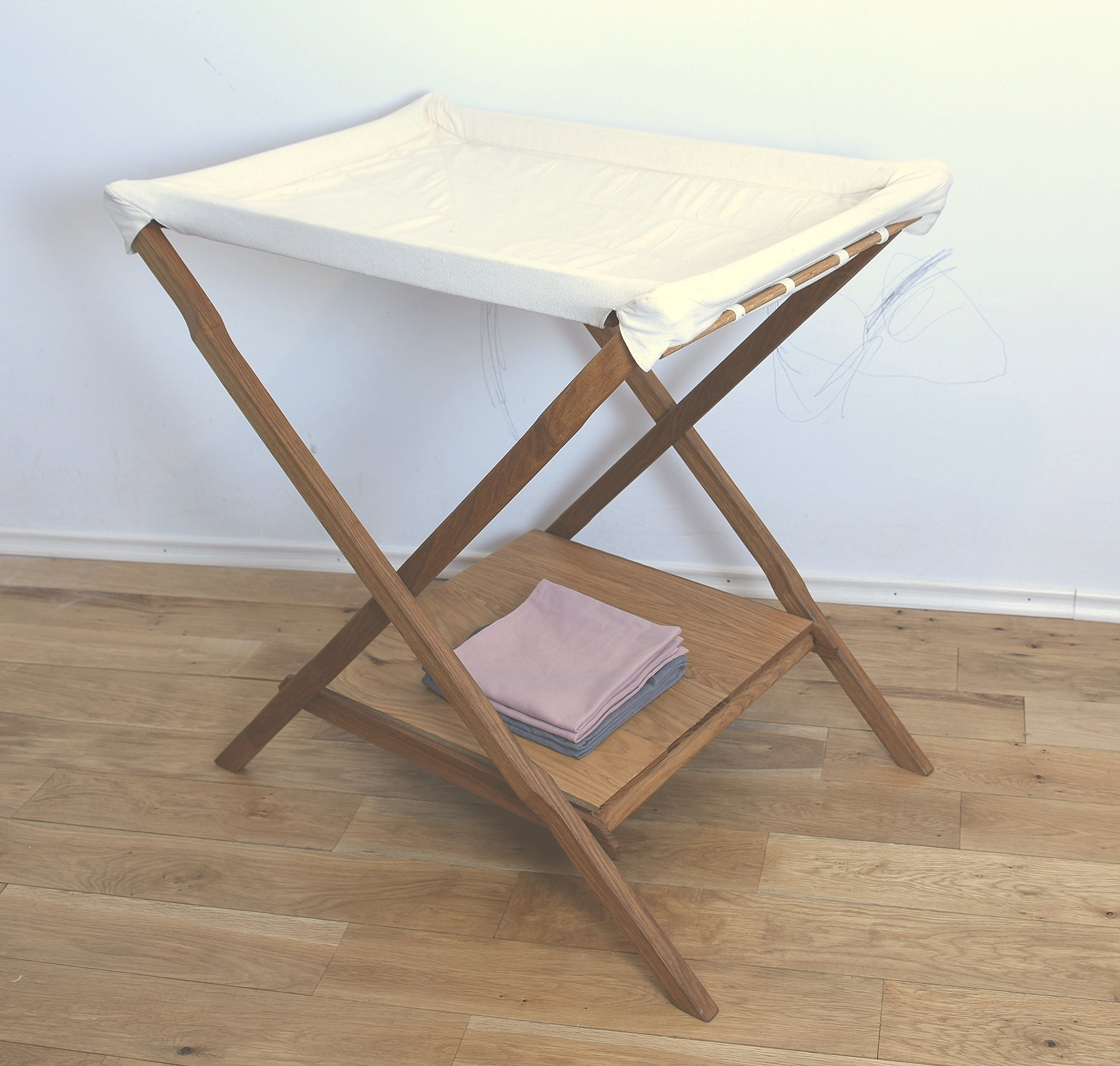 KOOTACARE Changing Table entirely of Oak Wood, Wool, Cotton and Linen fabric