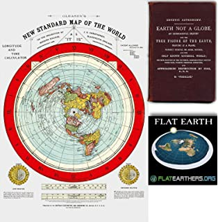 Amazon Com Flat Earth Map Gleason S New Standard Map Of The World