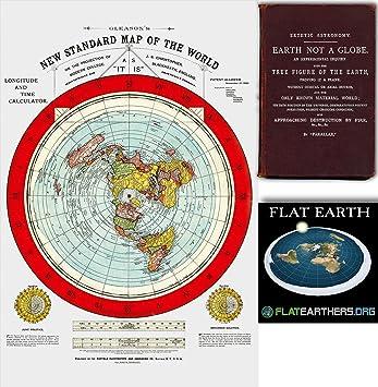 Amazon Com Flat Earth Map Gleason S New Standard Map Of The World