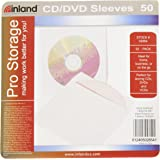 ProHT CD / DVD Paper Sleeves (02854), CD/DVD Sleeves Envelope with Clear Window and Flap, White - 50 Pack
