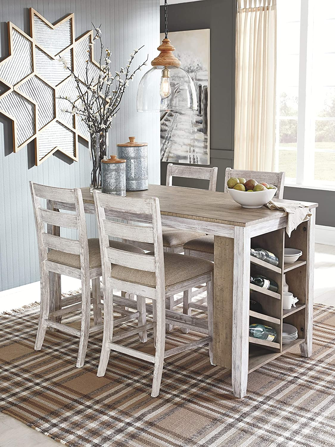 Signature Design by Ashley Bolanburg Casual Rectangular Dining Room Counter Table Two-Tone