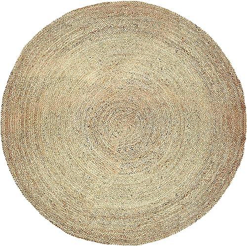 Boho Jute Rugs – Reversible Decorative Handwoven Rug Runner Home Decor Decorative for Bedroom Living Room Farmhouse 100 Bio Friendly – 8 Feet Round
