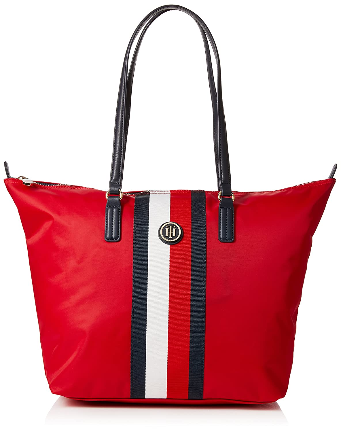 Tommy Hilfiger Poppy Tote Corp Stripe, Cabas femme, Rouge (Red/Core Stripe), 14x32x47 cm (B x H T) AW0AW05795