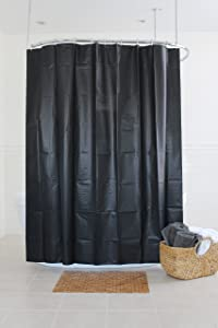 Splash Home Peva 4G Motto Curtain Liner Design for Bathroom Showers and Bathtubs Free of Pvc Chlorine and Chemical Smell-Eco-Friendly-100% Waterproof, 70 x 72 Inch, Black