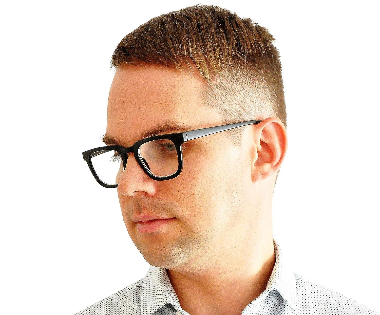 Blu Custodia IN OMAGGIO per Uomo e Donna +3.0 Diottrie Montatura in Plastica MiniBrille Occhiali da Lettura con Lenti Rettangolari