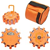 Tsialee 3pcs Road Flares Led Safety Flares, Emergency Light Powered by Battery, for Car Hiking Home W/Storage Bag and Hook.