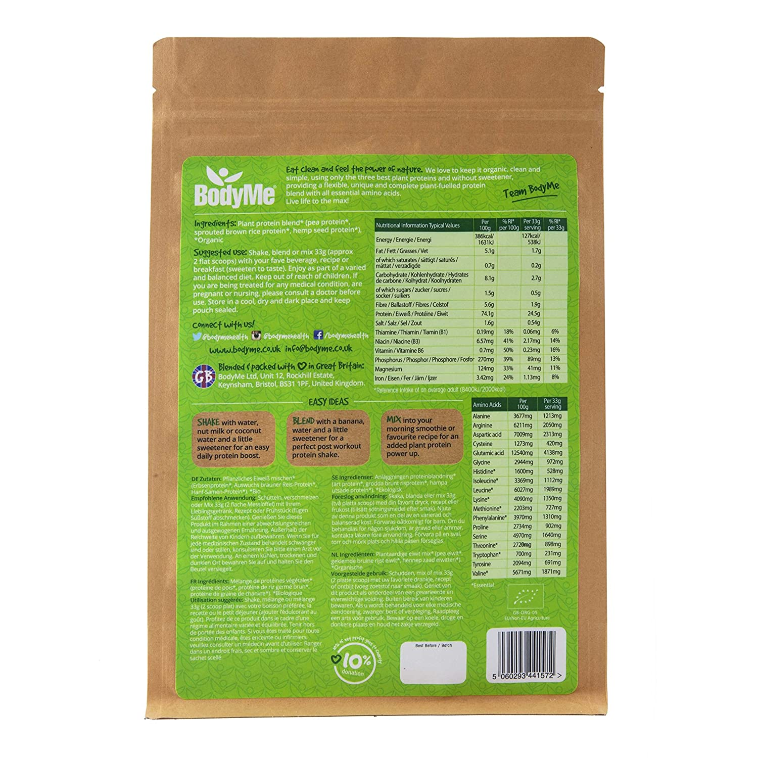 BodyMe Organic Vegan Protein Powder Blend Naked Natural 2.2lb 1kg UNSWEETENED with 3 Plant Proteins