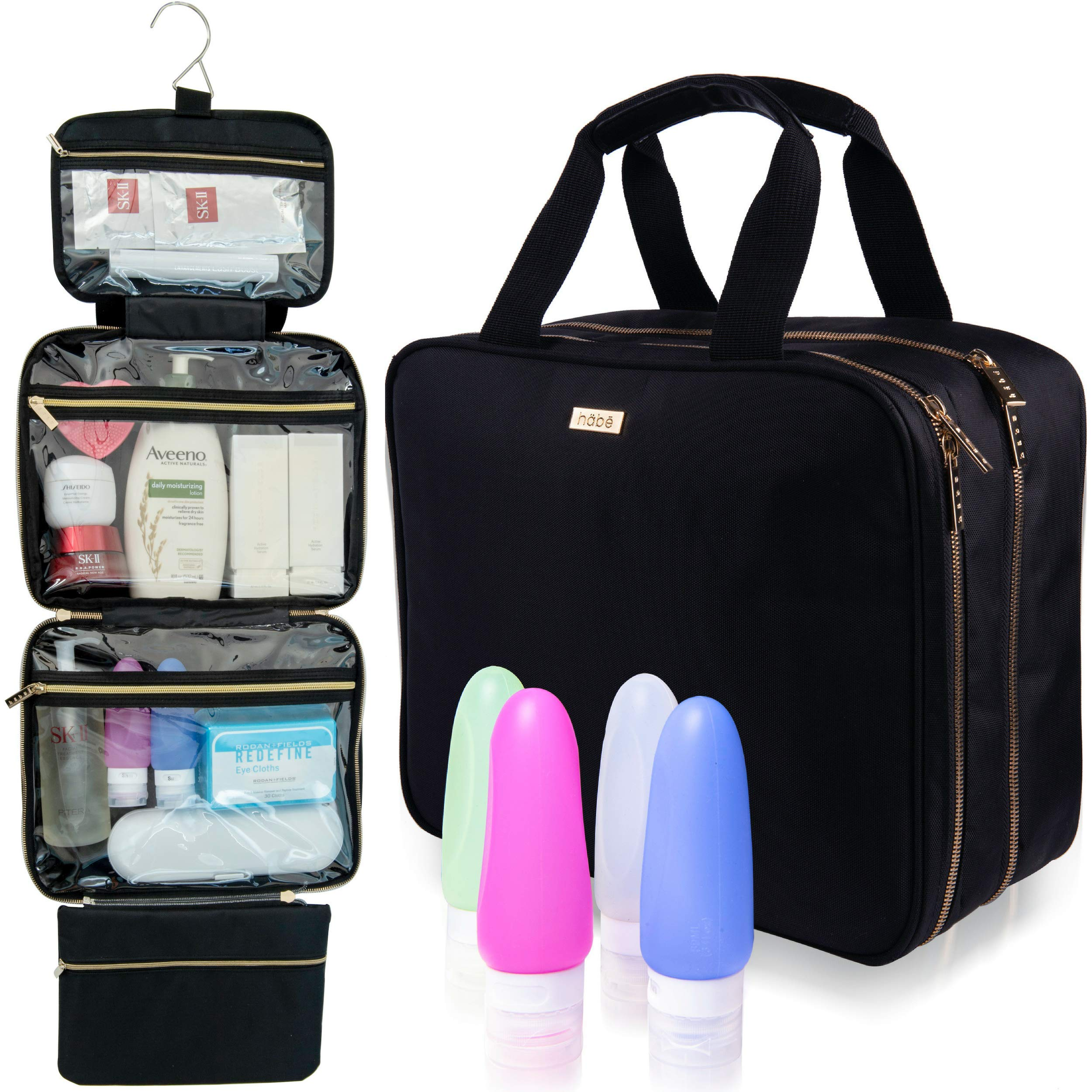 habe XL Hanging Travel Toiletry Bag | 4 BONUS Travel Bottles | Fits FULL SIZE Toiletries | Travel Makeup Bag | EXTRA LARGE Cosmetic Bags Organizer for Women | 3-IN-1 Bathroom, Make Up and Shower Kit by häbe (Image #1)