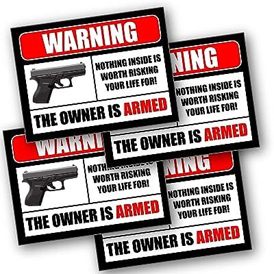 2nd Amendment Handgun Pistol Gun Owners Warning Security Sticker Decal 10002: Automotive