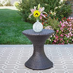 """Christopher Knight Home 301481 Frances Outdoor 16"""" Multibrown Wicker Hourglass Side Table"""
