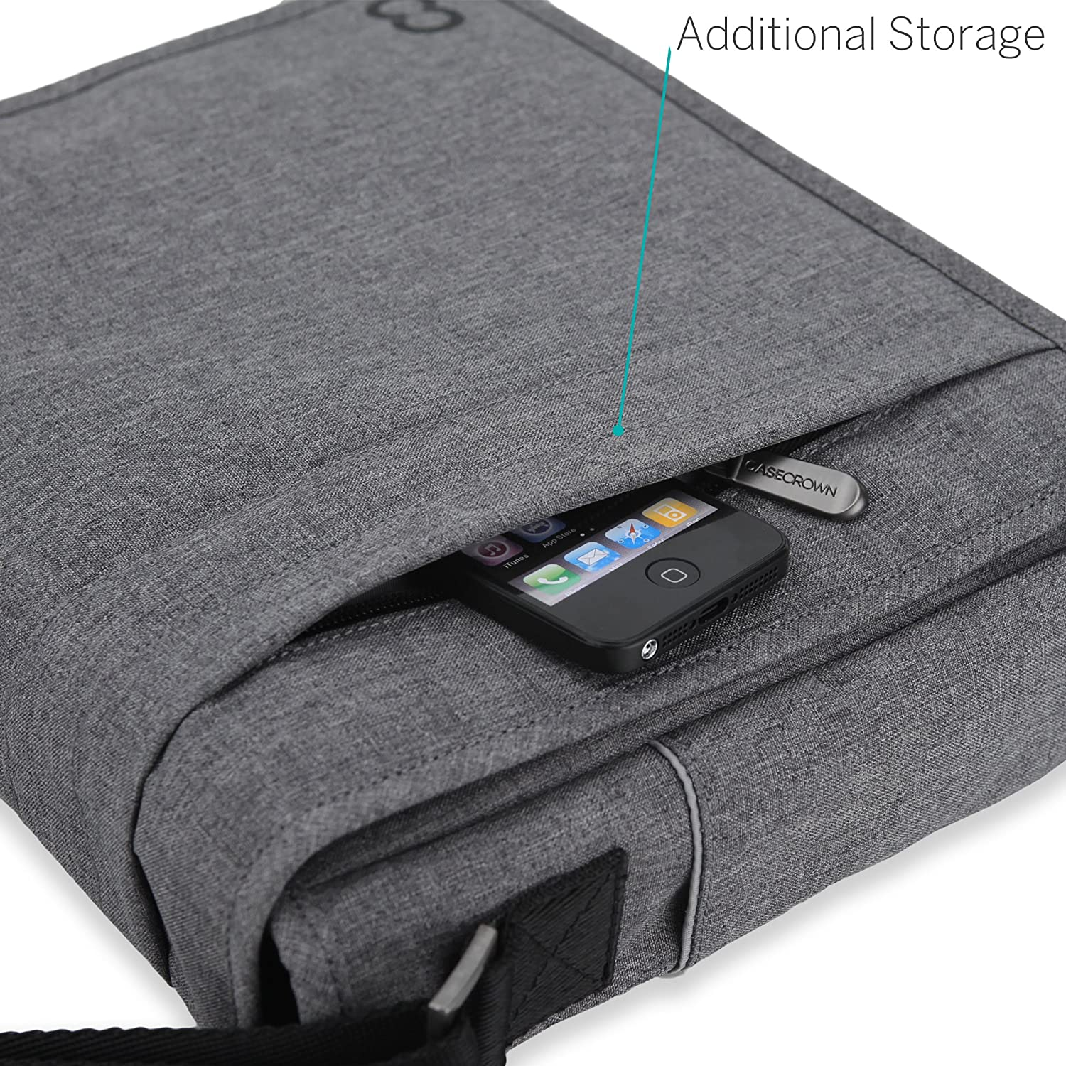Amazon 12 Inch MacBook Bag CaseCrown Campus North Messenger Charcoal Gray Computers Accessories