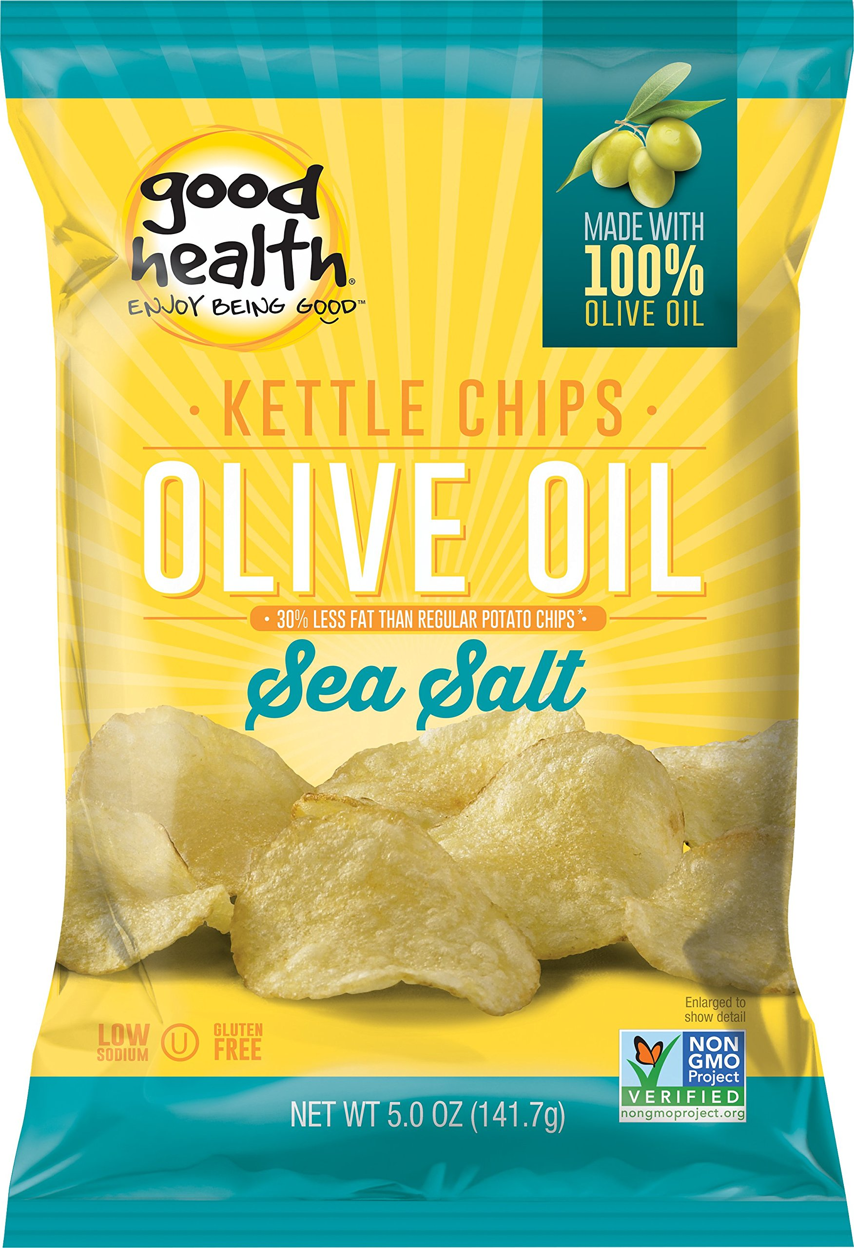 Good Health Kettle Style Potato Chips, Olive Oil & Sea Salt, 5 oz. Bag, 12 Pack - Gluten Free, Crunchy Chips Cooked in 100% Olive Oil, Great for Lunches or Snacking on the Go by Good Health