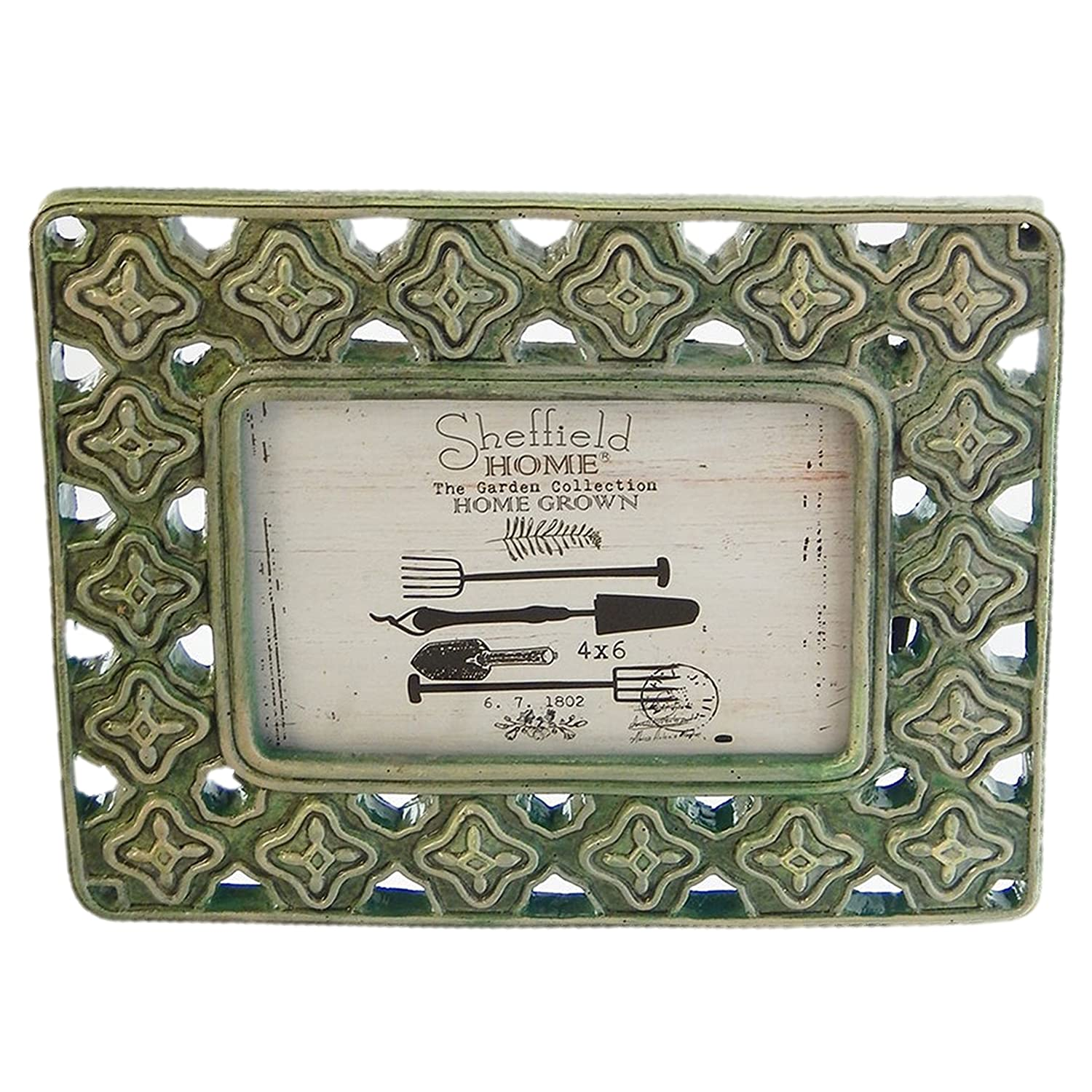 Sheffield Home Geometric Raised Detail Green Textured Picture Frame 4 by 6