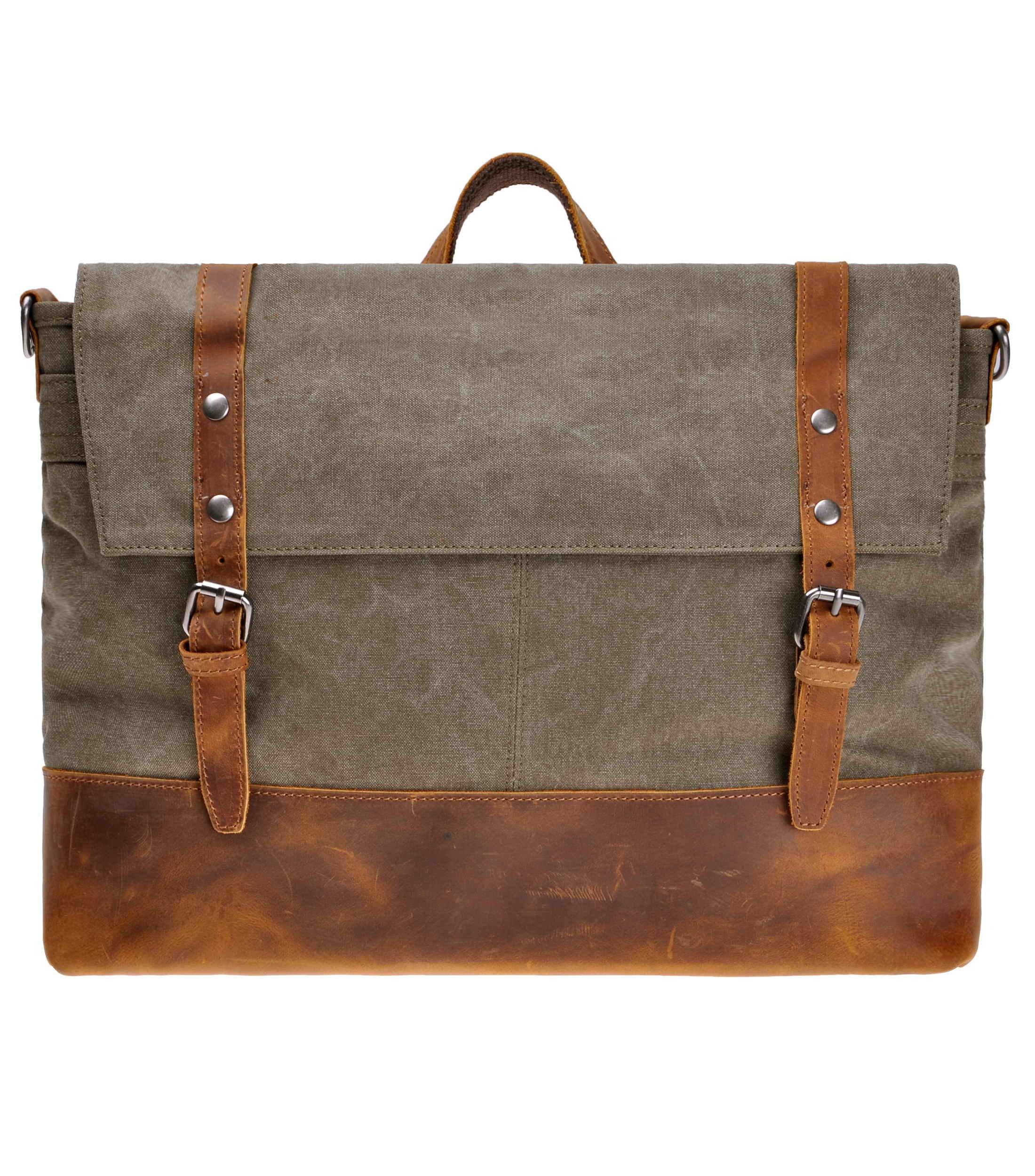 ZLYC Canvas Messenger Bag Leather Trim 15.6 Inch Laptop Bag Military Shoulder Bag Vintage Handbag