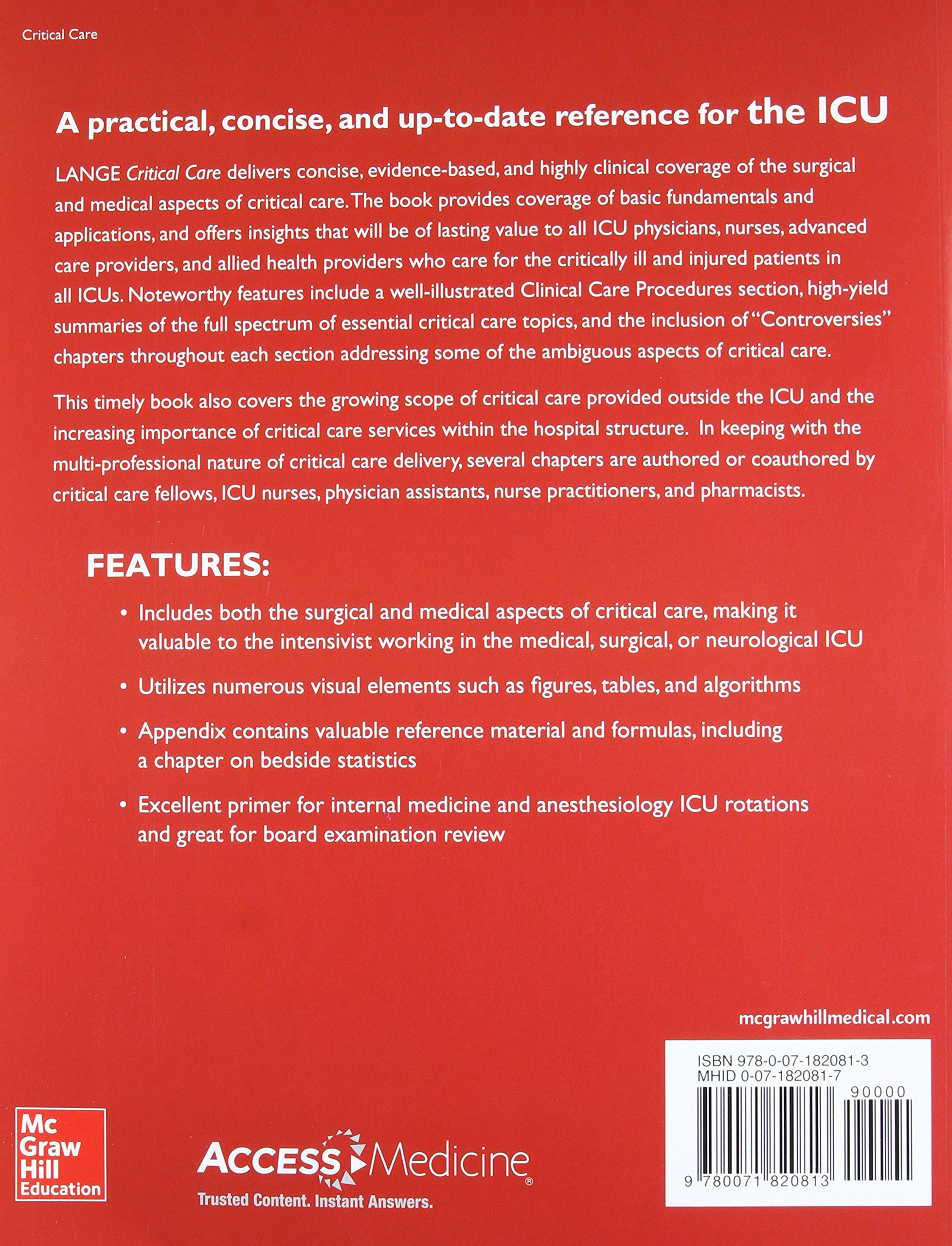 Lange Critical Care: John M  Oropello, Vlad Kvetan, Stephen M