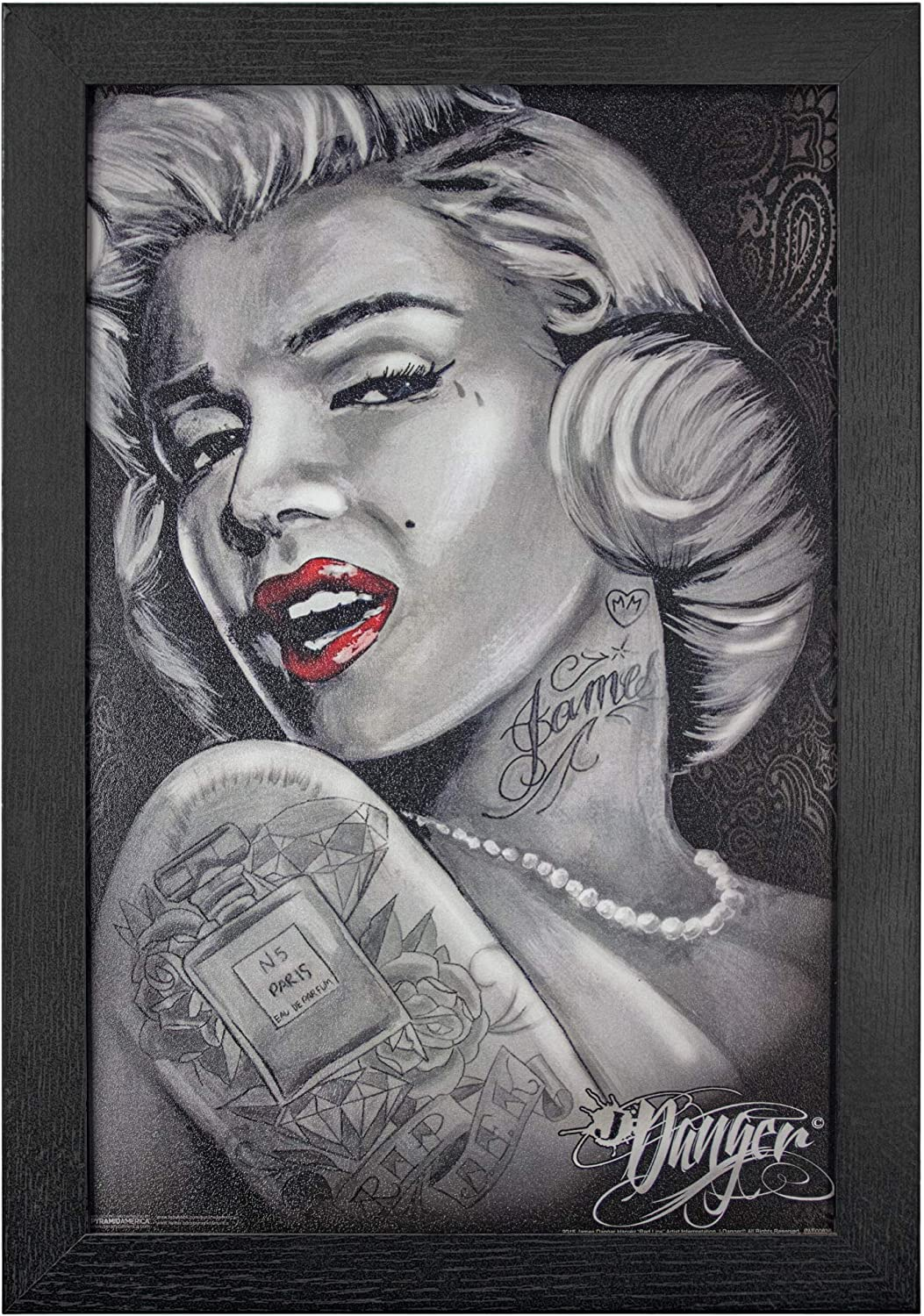 Marilyn Monroe Tattoo Art Locked and Loaded Poster in Black Wood Frame 24x36