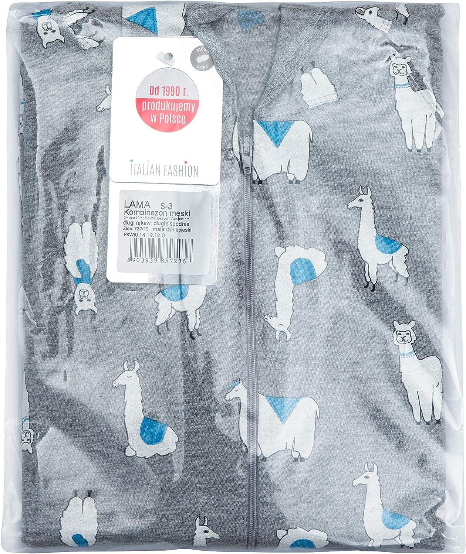 Italian Fashion Pigiama Intero Uomo Cotone Monopezzo Invernale Trendy Lama