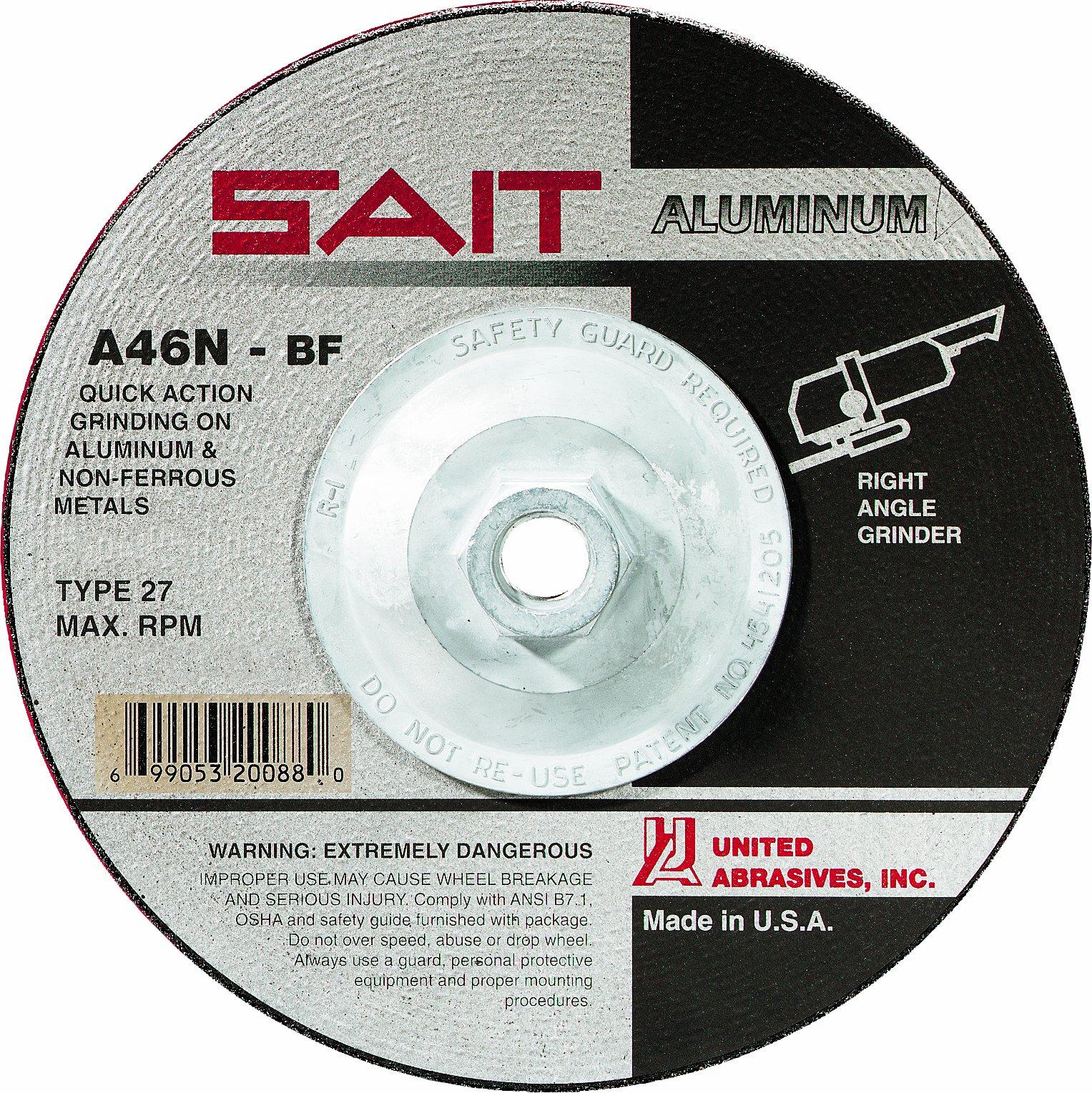 United Abrasives-SAIT 20088 Type 27 7-Inch x 1/4-Inch x 5/8-11-Inch A46N Aluminum Depressed Center Grinding Wheels, 10-Pack by United Abrasives- SAIT (Image #1)