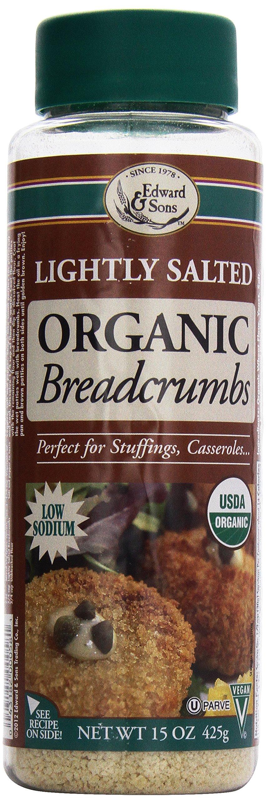 Edward & Sons Organic Bread Crumbs, Light Salt, 15 Ounce