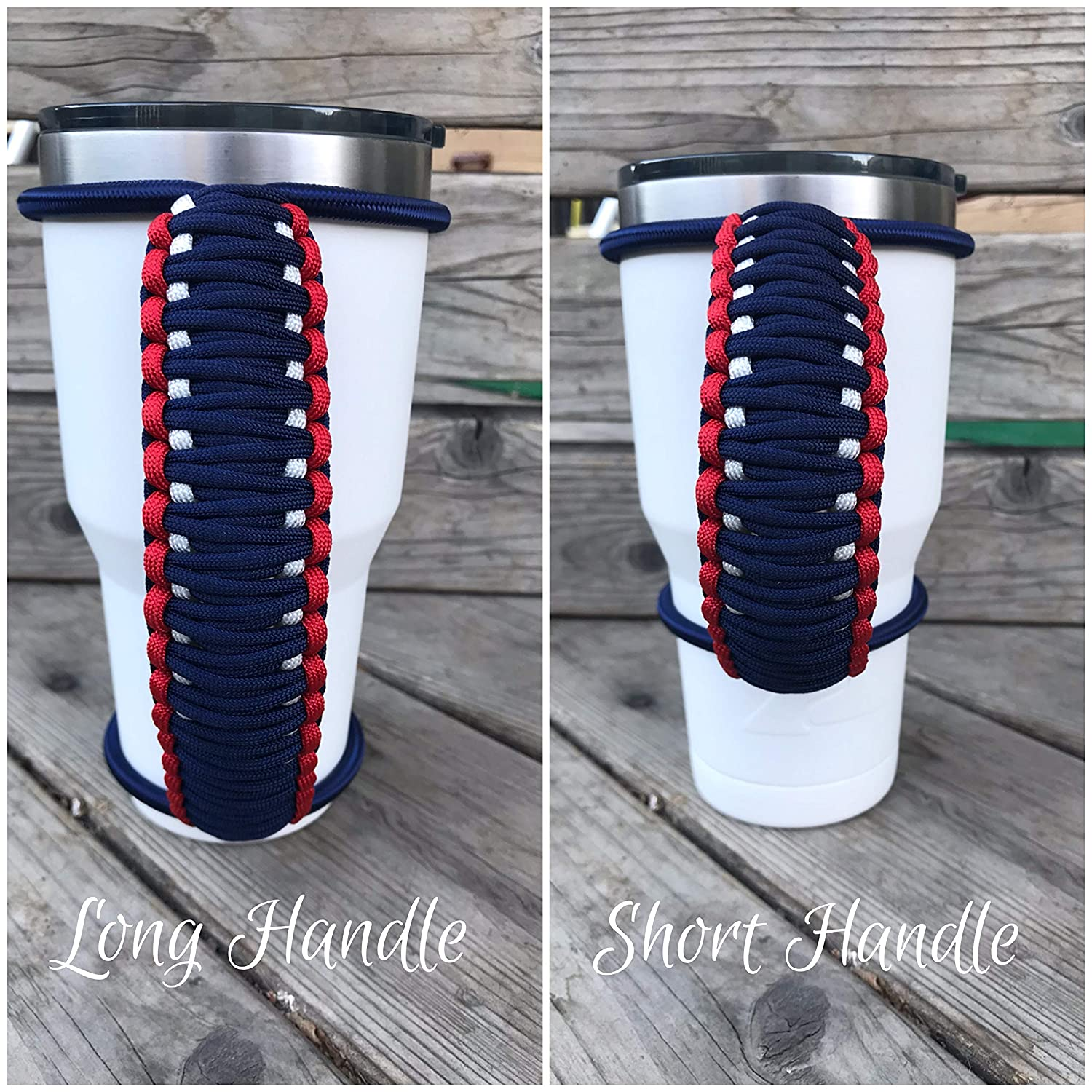 Dark knight metallic reflective tracers handle handmade colored bungee paracord strong durable handle for custom and insulated tumblers made to fit most 20 30 32 40 oz