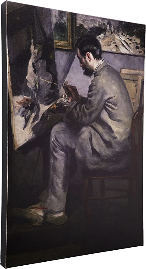 Frederic Barille At His Easel 1867 By Pierre Renoir 16x24 Inch Canvas Wall Art Oil Paintings Posters Prints