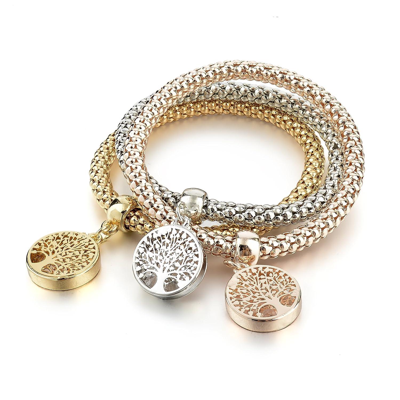 Long Way 3Pcs Gold Silver Rose Gold Plated Charm Bracelet for Women Stretch Crystal Multilayer Bracelet MSBR160104GD