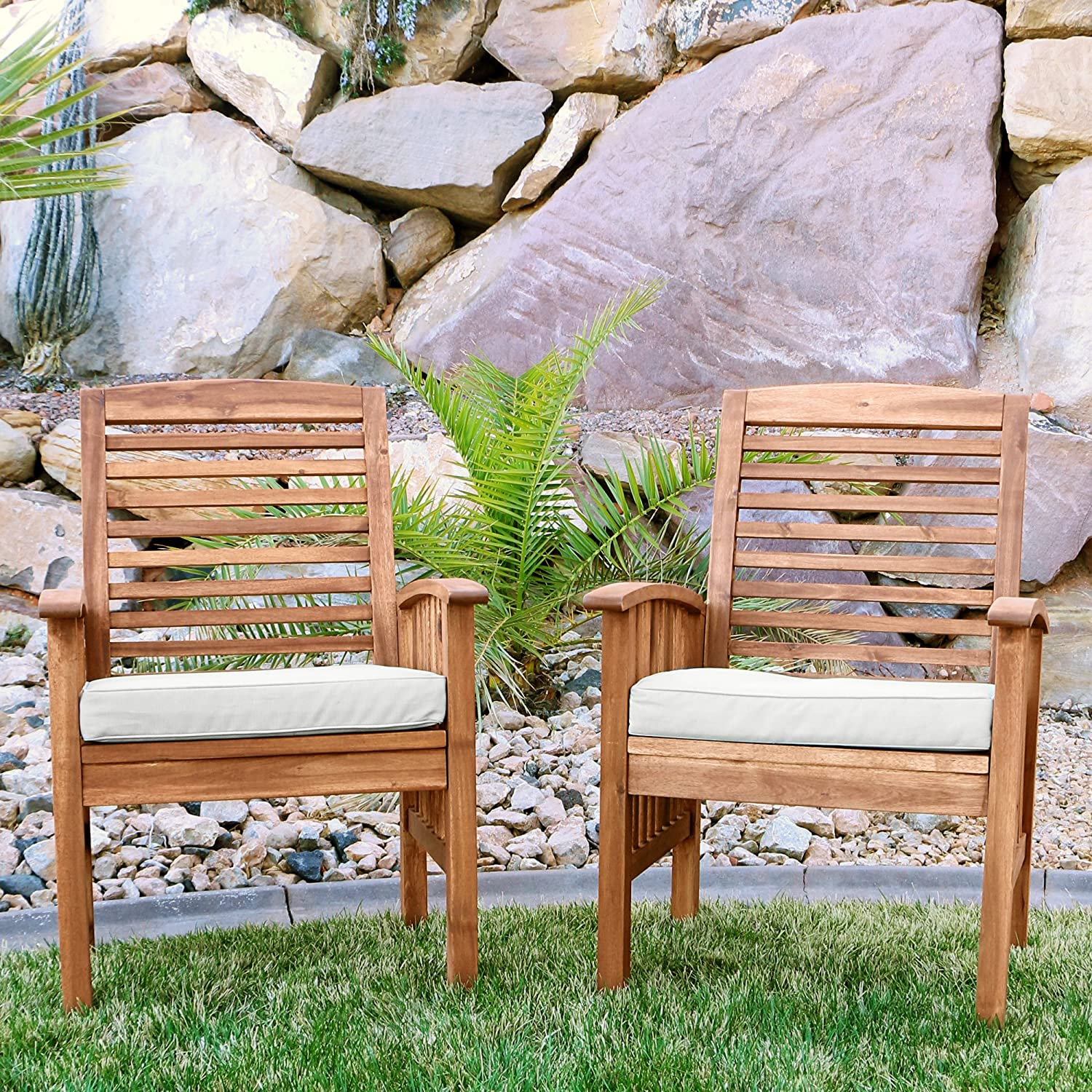 Walker Edison Rendezvous Modern 2 Piece Solid Acacia Wood Slat Back Outdoor Dining Chairs Set Of 2 Brown Outdoor And Patio Furniture Sets Garden Outdoor