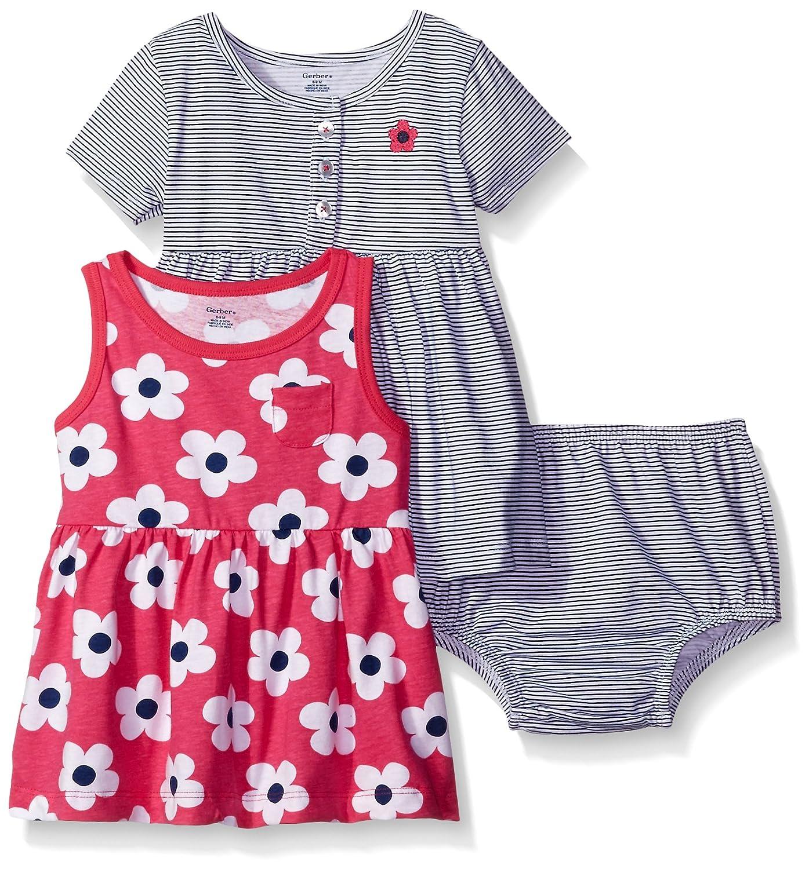 GERBER Baby Girls 3-Piece Dress and Diaper Cover Set